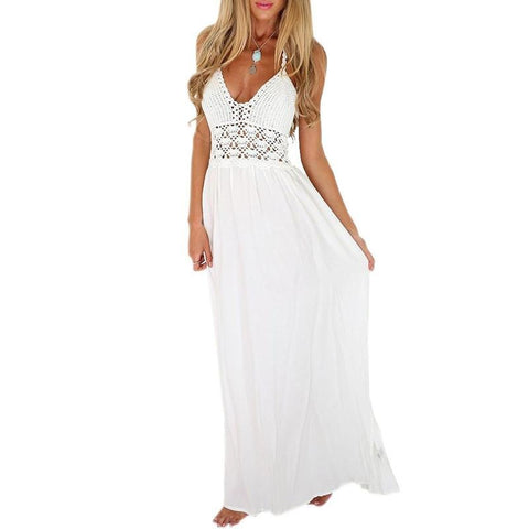 2015 New Fashion White Sling V-Neck Backless Sexy Dress Sleeveless Hollow Out Summer Women Beach Dress