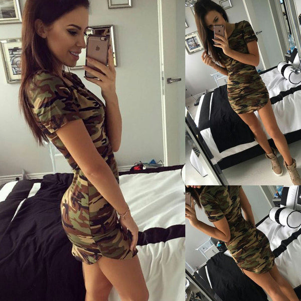 Summer Dress Short Sleeve Sexy Mini Dresses Women Green Camouflage Print Plus Size Woman