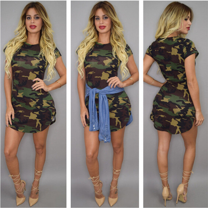 80e503546fe2f ... Summer Dress Short Sleeve Sexy Mini Dresses Women Green Camouflage  Print Plus Size Woman ...