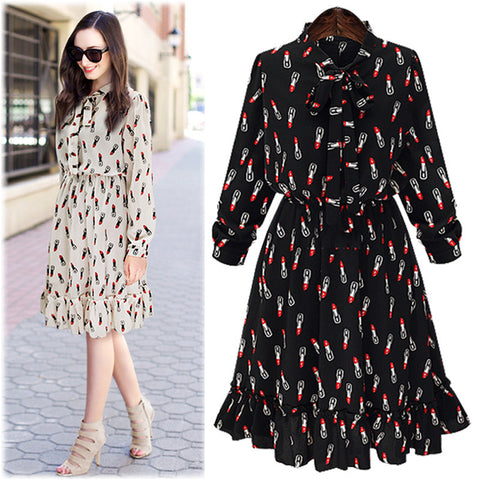 2016 Spring and Summer New Elegant Fashion Style Lipstick Printing Long-sleeved Chiffon Dress AXD1502