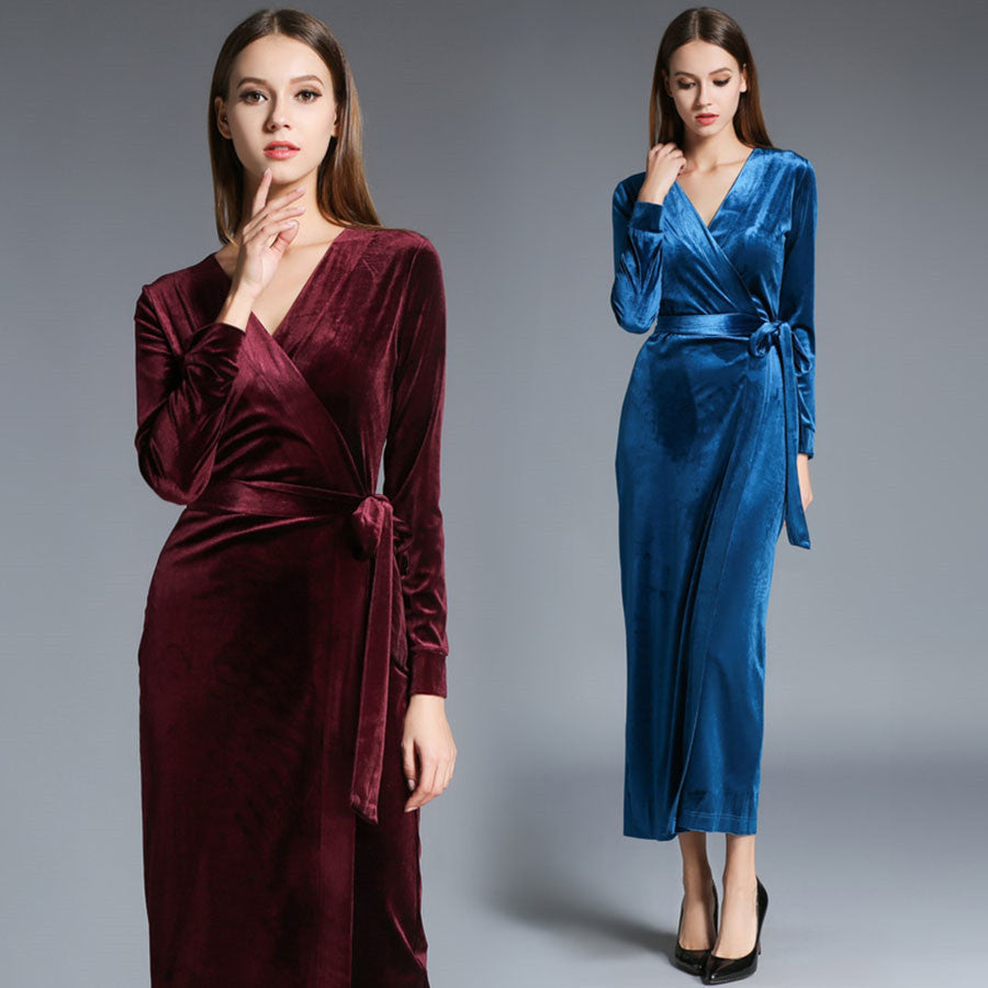 2017 autumn winter dresses blue red velvet dress for women