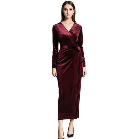cf69bf6fb94fd Sale 2017 Autumn Winter Dresses Blue Red Velvet Dress For Women Vintage Sexy  Evening Party Dresses With