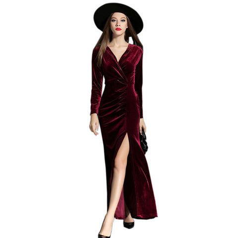 2017 Autumn Winter Evening Party Dresses Red Velvet Dress Women Vintage Sexy High Split Long Maxi Dresses Runway Vestido Longo