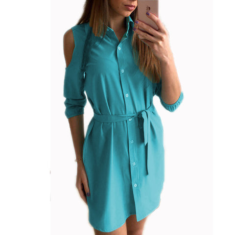 2017 Dress Women Summer Cold Shoulder Shirt Dresses Turn Down Collar Slim Button Casual Mini Party Dress Woman Clothes LJ5009X