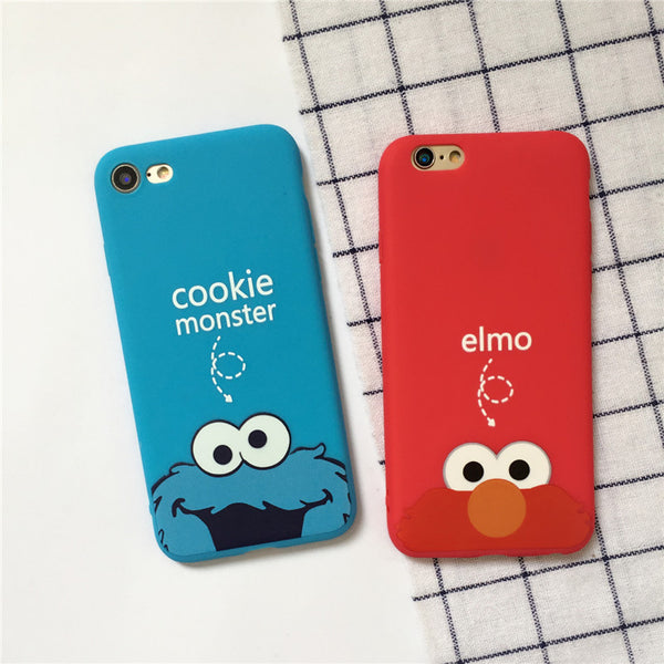 2017 Fashion Coque Cute Cartoon Cookie Monster Elmo Phone Cover Case For iPhone 5 5S SE 6 6S 7 Plus TPU Soft Slim Couples Fundas