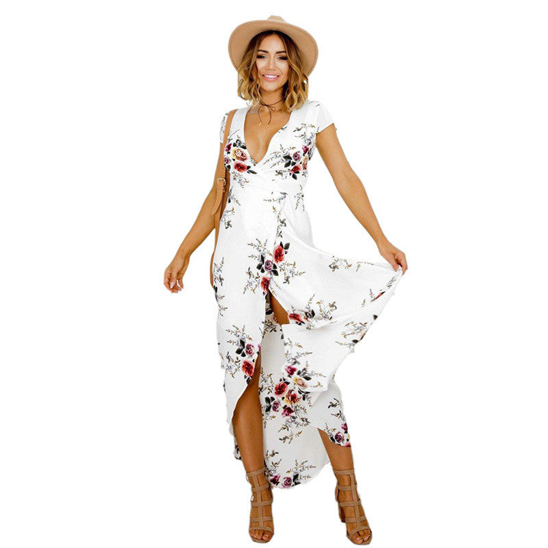 65b97cc380f ... 2017 Floral print chiffon split long dress Women beach summer v neck  kimono sexy sundress Elegant