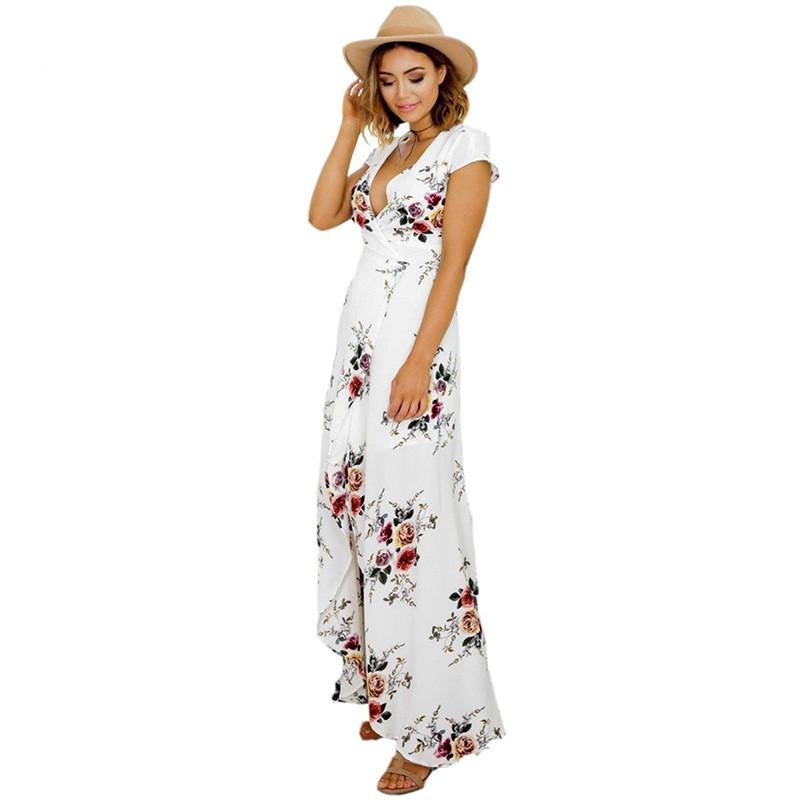 c5b063953f9 ... 2017 Floral print chiffon split long dress Women beach summer v neck  kimono sexy sundress Elegant ...