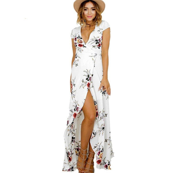 2017 Floral print chiffon split long dress Women beach summer v neck kimono sexy sundress Elegant sash wrap bandage maxi dresses