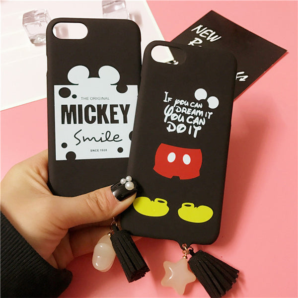 2017 For iPhone 7 Case Mickey Minnie Matte Hard PC Plastic Back Case for iPhone 6 6s 7 Plus Fundas Capa Lovers Star Tassel Cover