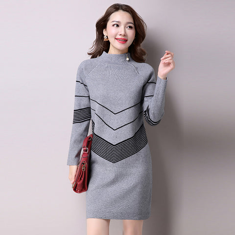 2017 Korean Fashion Women Warm Knitted Sweater Dresses Autumn Winter Female Half Turtleneck Long Sleeve Sexy Mini Knitwear