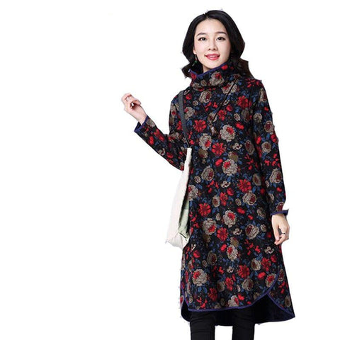 2017 Latest Autumn Winter Women Dress Sexy Big yards Slim Women Dress Warm Cotton High-collar Print Long sleeve Dress OK24