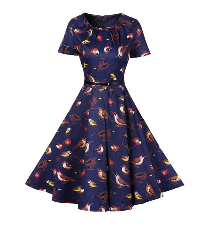 2017 New Arrival Vintage Birds Print A-Line Dress 50s 60s Hepburn Sashes O-Neck Short Sleeves Swing Dresses Plus Size Women