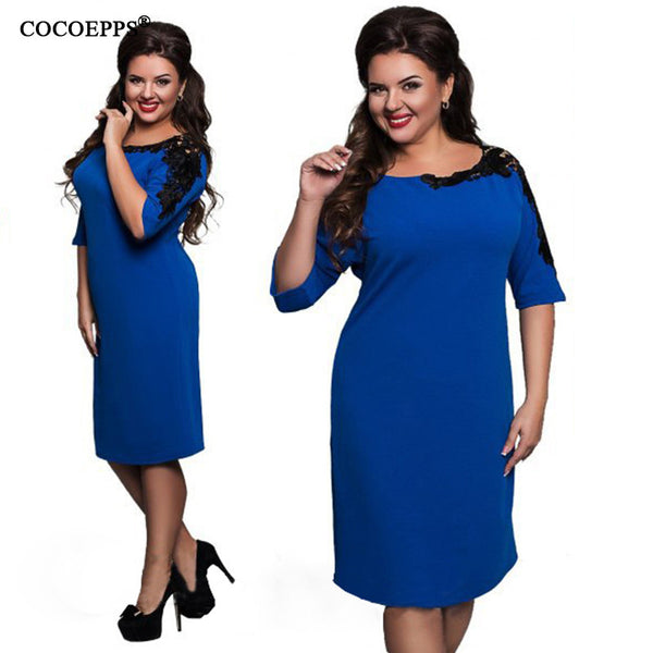 2017 New Fashion 5XL 6XL Plus size dresses Women Elegant Big large size Office lace Dress Vintage Blue Red evening party Dress