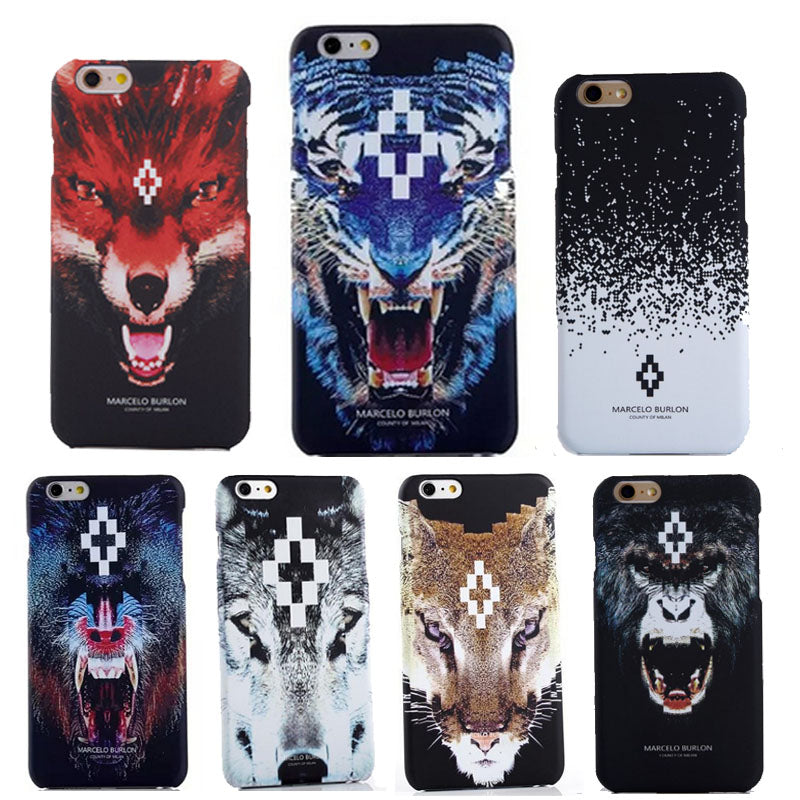 reputable site 03480 7eaf4 2017 New For iPhone 7 Marcelo Burlon Cover Tiger Fox Skull PC Case For  iPhone 6 6S 7 Plus 5 SE Marcelo Case Back Phone Case