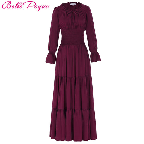 2017 New Medieval Dress Cotton Long Maxi Dresses Gowns Victorian Gothic Lo Vintage Long Sleeve Comfortable Renaissance Dress