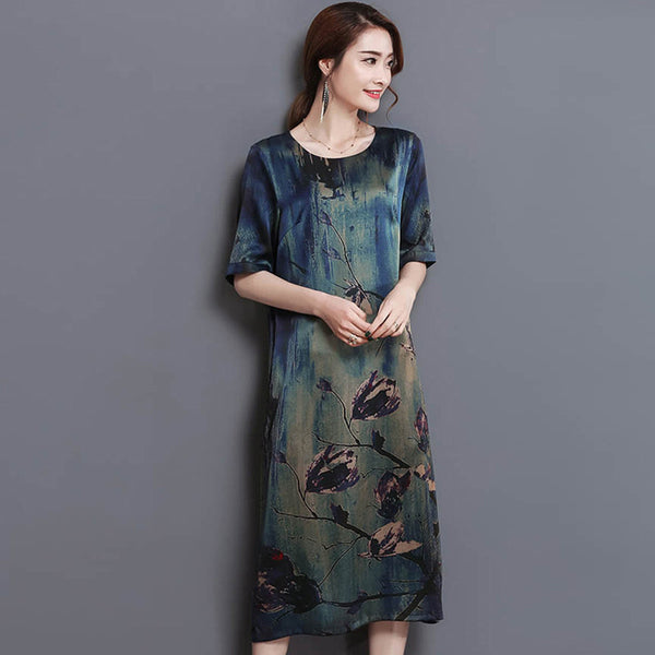 2017 New Summer Middle Age High Quality Silk Print Long Dress Vintage Elegant Large Size Loose O-Neck Women Dress YP0137
