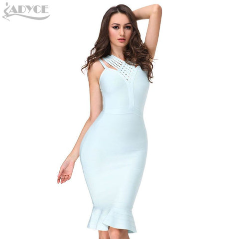 2017 New women Summer dress khaki black dark blue sky blue bandage dress sexy party Fishtail dress club dress runway wholesale