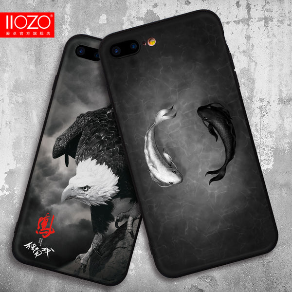 2017 Newest Phone Cases For iPhone 7 7 Plus Case Black White Fish Shark Eagle Cat Man Hard PC Back Cover For iPhone 7 6 6S Plus