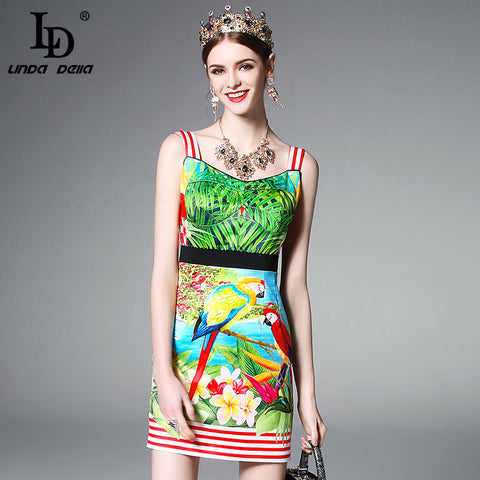 2017 Runway Summer Dress Women's elegant Backless Spaghetti Strap Stripe Casual Vintage Flower Bird Printing Short Dress Bodycon