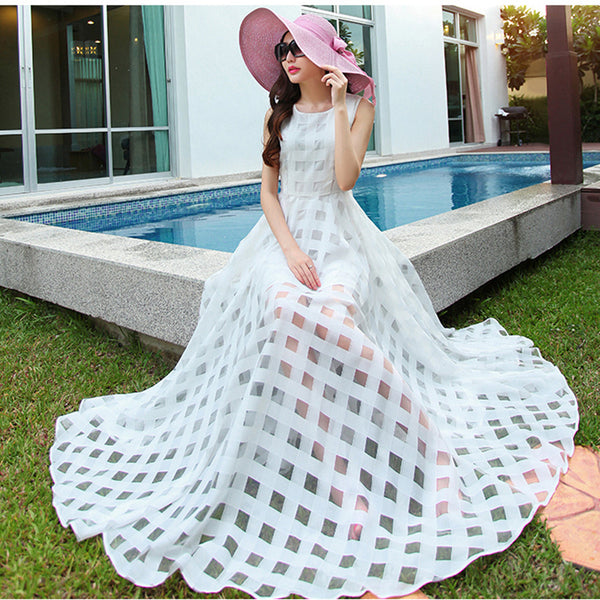 2017 Runway Summer Sundress Black White Long Maxi Dress Women Bohemian Organza Beach Dresses Sleeveless Big Swing Vestidos Mujer