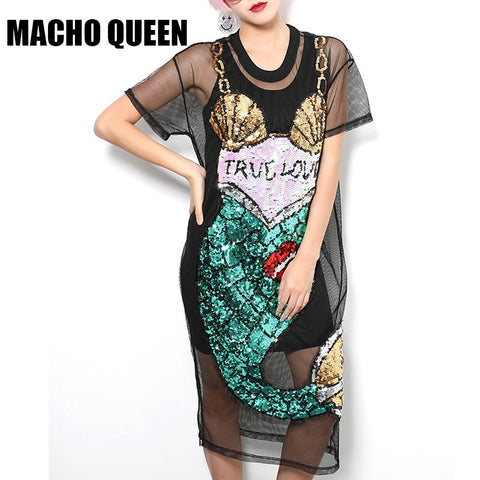 2017 Sequin Mermaid Dress Summer Women Sexy Street Fashion Dress Black Cartoon Mesh Dress Perspective Dress
