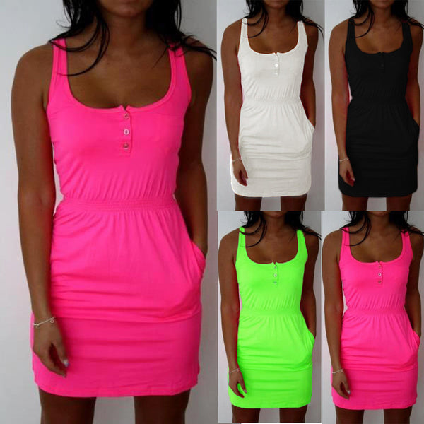 2017 Sexy Women Dress Fluorescent Color Elastic Waist Lady Summer Casual Sleeveless Beach Mini Dress Vestidos Plus size S-5XL