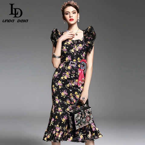 2017 Spring Summer New Runway Designer Dress Women's High Quality Ruffle Beading Sexy Vintage Floral Printed Mermaid Party Dress