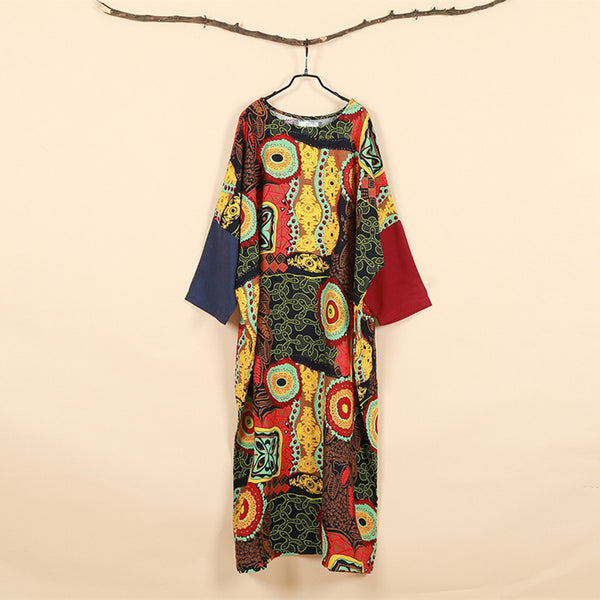 2017 Spring Women Dress Batwing Sleeve Maxi Dress O-neck Abstract Printing Cotton Linen Ethnic Robe Vestidos Long Dress Elbise