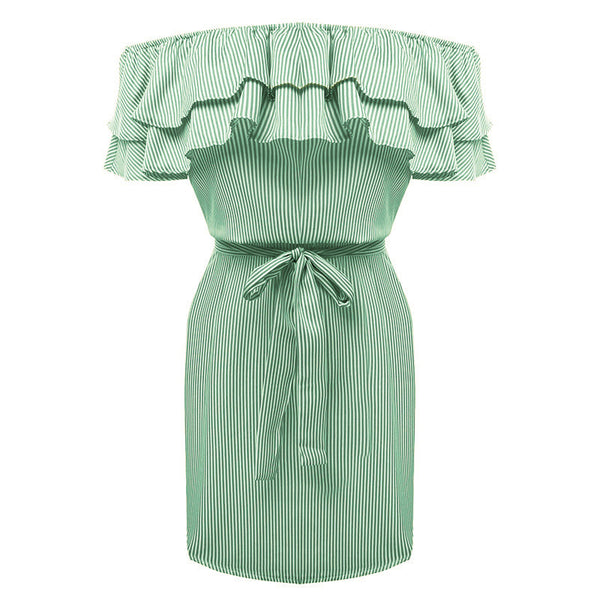 2017 Summer Dress Women Sexy Off Shoulder Slash Neck Fashion Sashes Cascading Ruffles Stripe Plus Size Mini Dresses Vestido