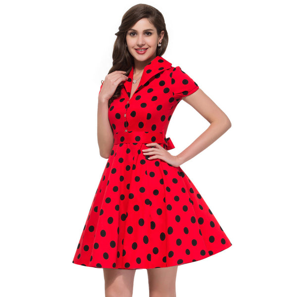 2017 Summer Women Dress Polka Dot Big Swing Vestidos Retro Robe Casual Prom Rockabilly Party Dress 50s 60s Pinup Vintage Dresses