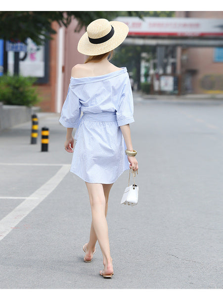 2017 Summer Women's One Shoulder Blue Striped Women Shirt Dress Sexy Side Split Elegant Half Sleeve Waistband Beach Dresses
