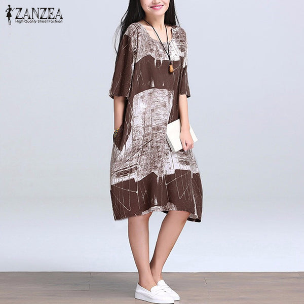2017 Summer ZANZEA Vestidos Women Vintage Print Cotton Linen Dress Casual Loose O Neck Half Sleeve Knee Length Dress Plus Size