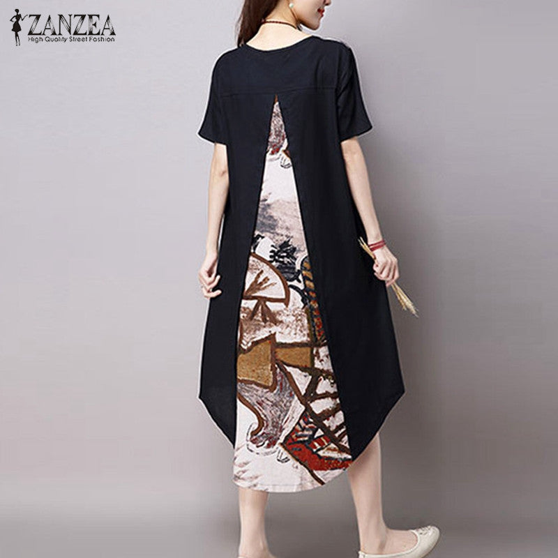 3b8ce8a8a219 ... 2017 Summer ZANZEA Women Vintage Print Dress Casual Loose O Neck Short  Sleeve Irregular Hem Mid ...