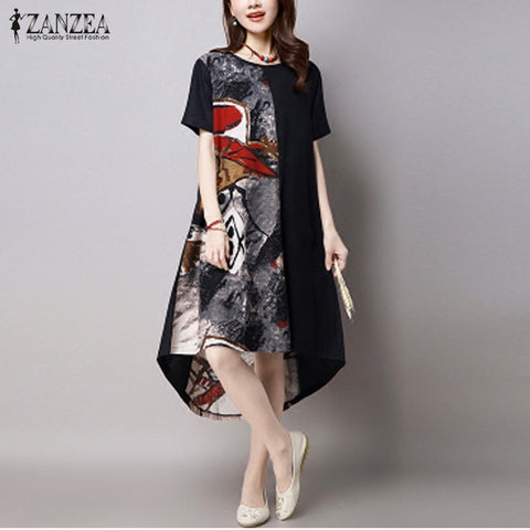 2017 Summer ZANZEA Women Vintage Print Dress Casual Loose O Neck Short Sleeve Irregular Hem Mid-calf Dress Vestidos Plus Size