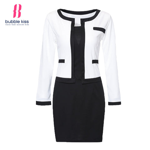 2017 Women Bodycon Dress Office Patchwork Plus size Long Sleeve Formal Work Dress Black White Vintage Midi dresses Vestidos