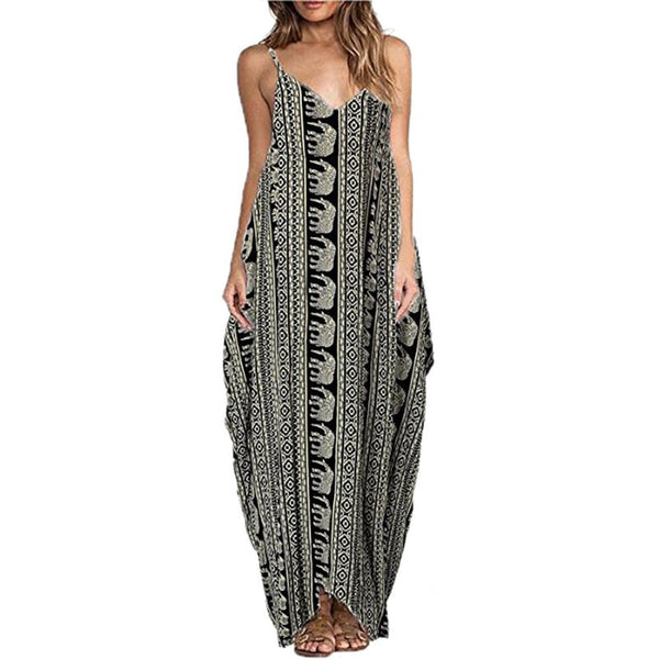 2017 Women Long  Casual Dresses Sexy Women Sleeveless Straps V-Neck Print Maxi Beach Dress Vestidos Plus Size