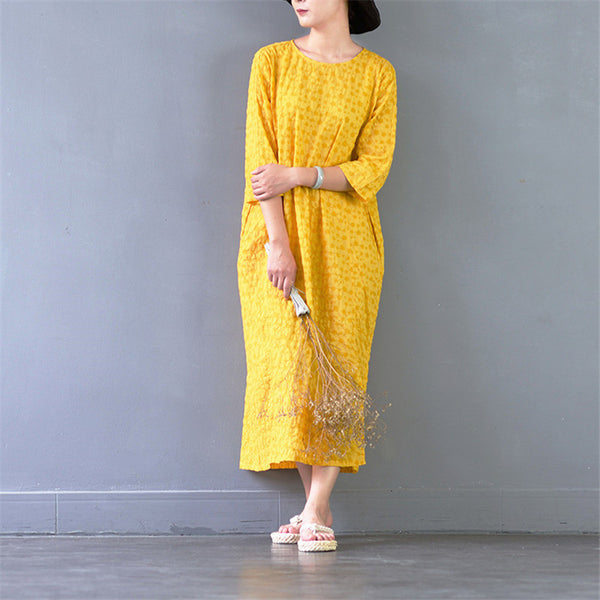 2017 Women Summer Dress Vintage Chinese Style O-neck Three Quarter Sleeve Plate Button Loose Long Dress Cute Mid-Calf Robe