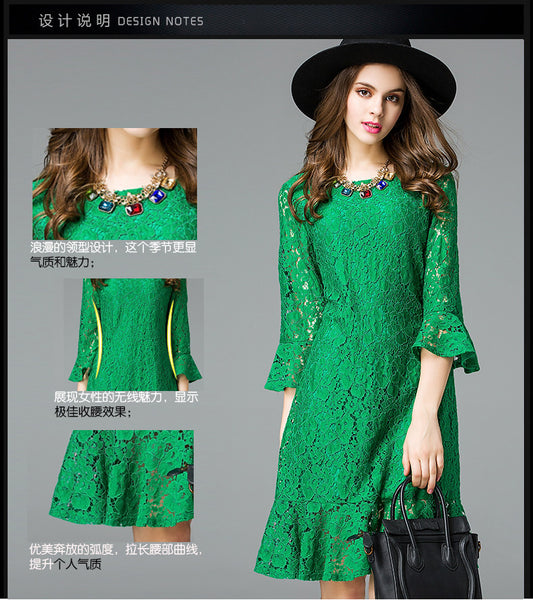 2017 elegant women mermaid lace party dresses XL-5XL plus size spring summer ruffles women sexy lace dress green black color