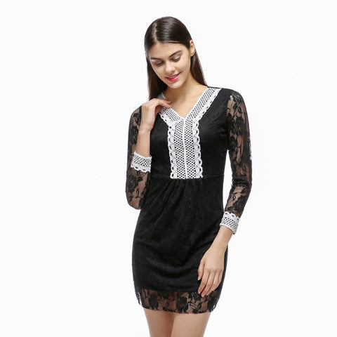 2017 summer fashion women's a-line V-neck lace patchwork hollow out black dresses sexy ladies girl wrist sleeve casual dress