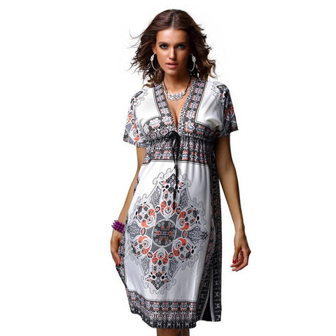 2017 women summer dress short sleeve silk soft deep V-neck print vestidos  high waist beach bohemian loose dresses