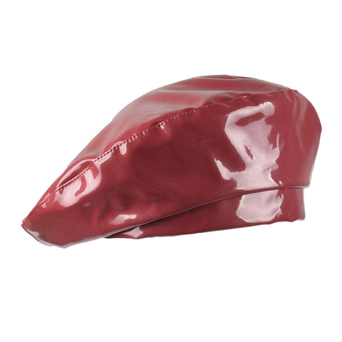 2018 New Fashion Patent Leather Beret High Quality Ladies Hats Solid Color Flat Top Hat PU Slouchy Bone Captain Cap Women Female