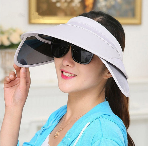2018 New Retractable Visor Female Summer Sun Empty Top Hat Riding Outdoor Sports Cap UV Sun Hat Woman Beach Hat Fishing Cap