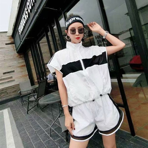 2018 Women's Solid Color Casual T-shirt Short Sleeve Top + Summer Shorts Set Two-piece Women's Set Women's Set