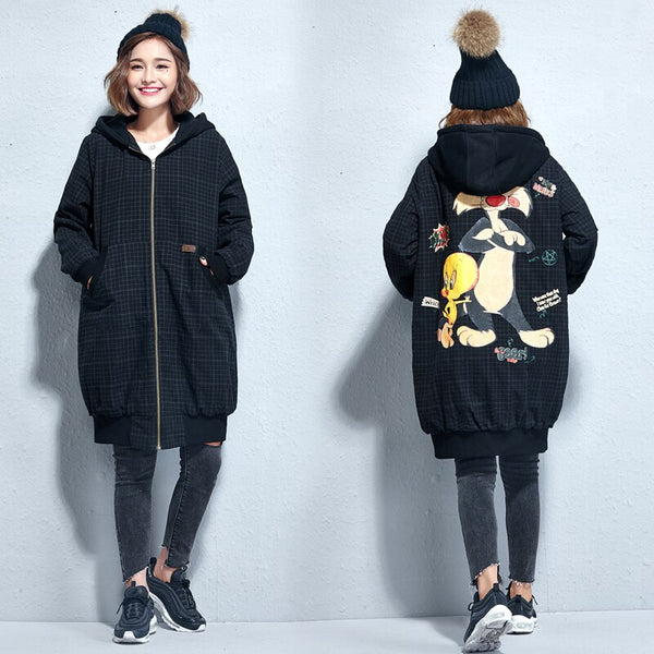 2018 autumn and winter new plaid art ladies coat thickening loose large size cartoon zipper hooded jacket female