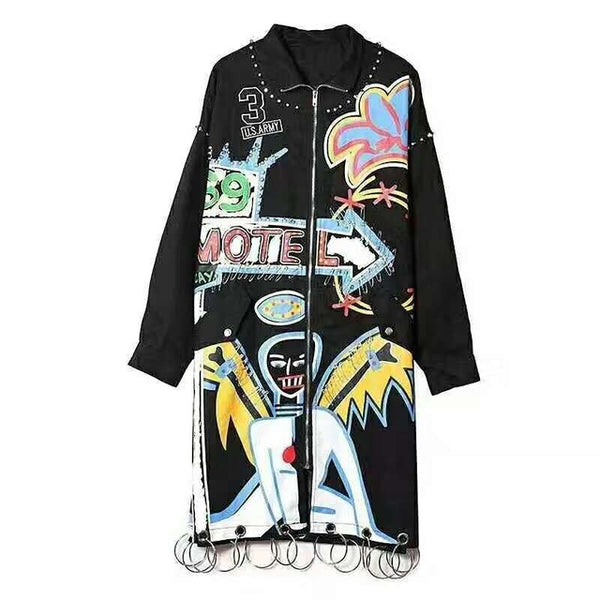 2018 autumn new Korean students Harajuku bf loose personality graffiti windbreaker female long section casual jacket tide