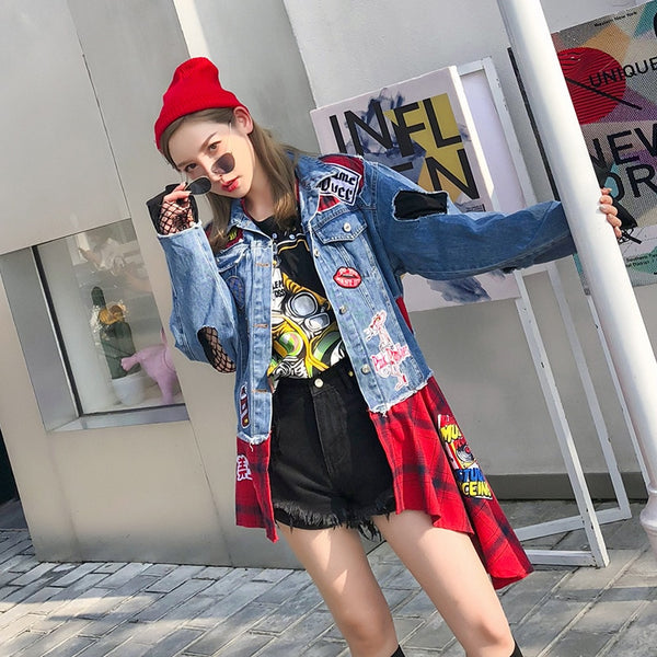 2018 autumn new Thai street brand badge patch hole red plaid stitching irregular ladies denim clothing female loose coat