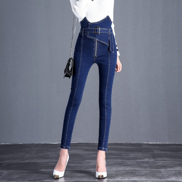 2018 autumn new ladies jeans female tight feet thin section nine pants Korean version of the high waist was thin flower jeans