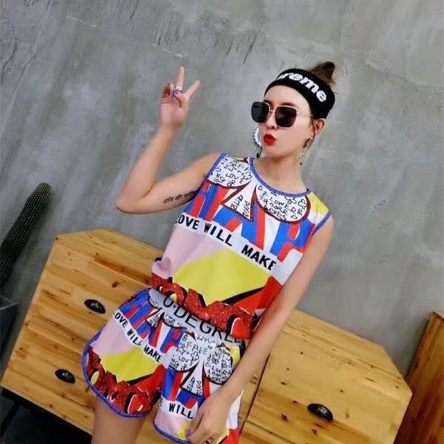 2018 new Hong Kong women T-shirt loose short sleeved suit personality Chic Dress printing letters all-match summer clothes