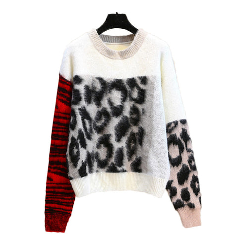 2018 new color stitching color leopard sweater knit round neck sleeve two-color sleeves loose mohair tops women lazy retro