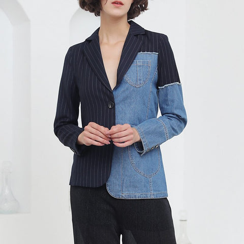 2018 new personality striped denim stitching blazer female Korean version of the irregular loose casual shirt tide suit